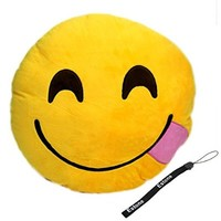HeroNeo® Soft Emoji Smiley Emoticon Yellow Round Cushion Pillow Stuffed Plush Toy Doll (Hungry)