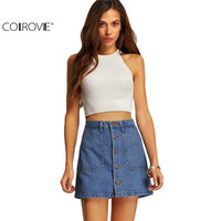 COLROVIE Famous 2016 Summer Style Women Mini Skirts High Waist Sexy Womens Pockets Blue Single Breasted Denim A-Line Skirt