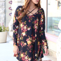 Suedette Floral Criss Cross Dress {Black Mix}