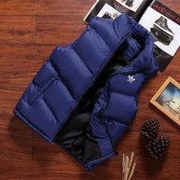 ADIDAS Clover 2018 new winter vest shoulder heating jacket tide section wear down cotton vest vest Blue