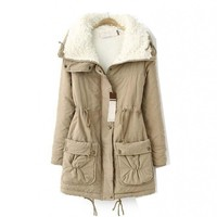 WIIPU Women's Long Military Jacket Fur Hood Fleece Thicken parkas coat(J298)
