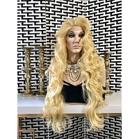 Platinum Blond Human Hair Blend Multi Parting Lace Front Wig - Scalise