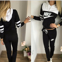 "[ On Sale ] Best Deal (2 Piece Set) "" Nike "" Like Letter Logo Print Sports Long Sleeve Women Casual Slim Fit Sweatshirt Shirt Top Hoodie Blouse T-Shirt and Sweatpants Bottom Set _ 2430"