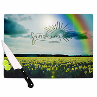 "Robin Dickinson ""You Are My Sunshine,Rainbow"" Blue Yellow Cutting Board"
