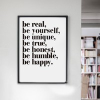 Be Real Be Yourself Be Unique Quote Canvas Art Painting Print And Poster Wall Picture For Office Bedroom Living Room Home Decor