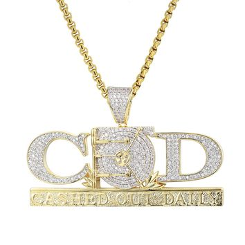 14k Gold Finish Cashed Out Daily Hip Hop Custom Pendant