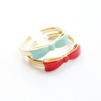 Mint Bow Ring Adjustable Ring Ribbon Stackable by MintRainbows