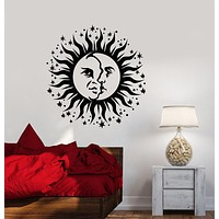 Vinyl Wall Decal Moon And Sun Crescent Face Bedroom Decor Stickers (3370ig)
