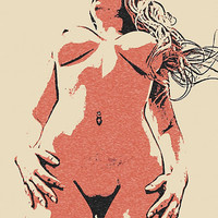 Erotic Art 200gsm poster - Dirty POV, sexy nude woman body in erotic view shot artwork, hot conte style print High Resolution 300dpi sketch
