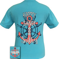 Girlie Girl Originals Beach Happy Sandy and Salty Comfort Colors Lagoon Blue T-Shirt