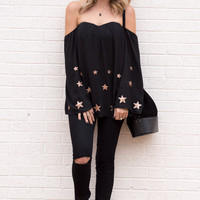 Starlight Off Shoulder Sequin Black Top