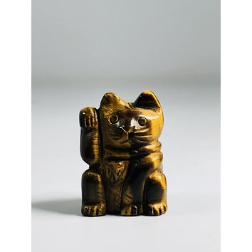 """""""Lucky & Protective """" Tigers Eye Money Cat"""