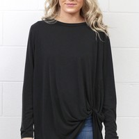 Long Sleeve Get Twisted Modal Top {Charcoal}
