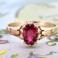 Victorian Engagement Ring | 10k Rose Gold Ring | Antique Gemstone Ring | Dainty Birthstone Ring | Stacking Ring | Marsala Jewelry | Size 6