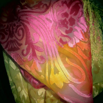 """DAZZLING LADIES ARTISTIC Devore silk scarf. Four inch knotted fringe. Custom design. Blended shades of pink, yellow and orange, 12"""" x 72"""""""