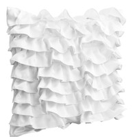Designer Pillow Cover In White Satin With Ruffles