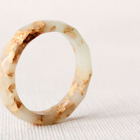 mint gold size 9.5 thin multifaceted eco resin ring