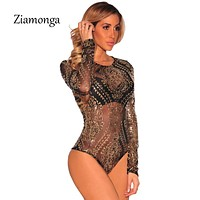 Ziamonga Women Jumpsuits Long Sleeve Sequined Bodysuits Gold Sequin Leotard Bodysuits Embroidery Rompers Women Jumpsuit C2916