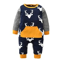Cute Christmas Baby Boy Clothes Long Sleeve Deer Printed Baby Rompers Newborn Infant Jumpsuit Toddler Kids Clothing