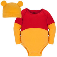 Disney Store Winnie the Pooh Costume Onesuit Bodysuit with Matching Hat (Size 12-18 Months: 100% Organic Cotton)
