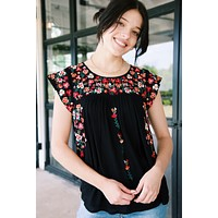 Serena Embroidered Woven Top, Black