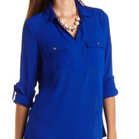 Double Pocket Collared Chiffon Top by Charlotte Russe - Bright Cobalt
