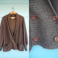 1980s. brown oversized slouchy pea coat style cardigan. s-l