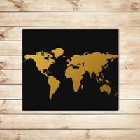 Black and Gold World Map, Faux Gold Foil Print, Map Prints,Typography, Typographic Art, Dorm Decor, Home Decor, Apartment Decor