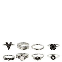 Silver Assorted Slim Ring Stack