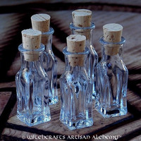 Squared Crystal Clear Glass Corked Spell Potion Bottle Vials 3ml, Set of 5
