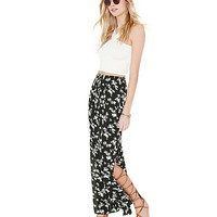 Black Floral Print Maxi Skirt with Thigh Split