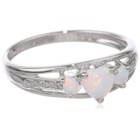 Sterling Silver Created Opal and Diamond Accent Three-Heart Ring, Size 8