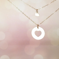 Mother daughter necklace set , Inspirational gift , Mom necklace , Simple delicate , Sterling silver , Love jewelry , Heart necklace set