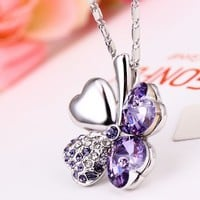The Lucky Four Leaf Clover Necklace with Swarovski Elements
