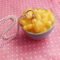 Bowl of Macaroni and Cheese Necklace, Polymer Clay, mac and cheese, Miniature Food, Food Jewelry,OOAK