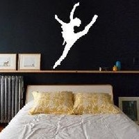 Dancer Silhouettes Car Window Wall Laptop Decal Sticker -- White 4in X 2.7in