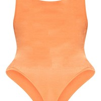 Plus Orange Slinky Square Neck Thong Bodysuit