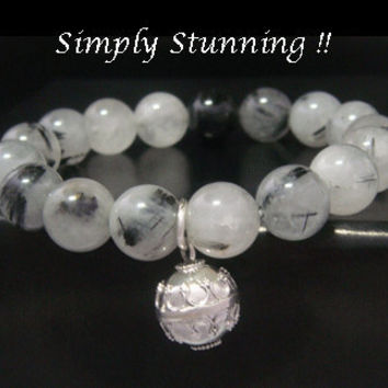 Harmony Ball Bracelet with Tourmaline and Quartz Beads and 925 Sterling Silver H
