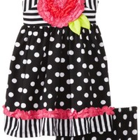 Bonnie Baby Baby Girls' Dot and Stripe Large Flower Dress, Black/White, 18 Months