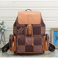 LV Retro Printed Plaid Pin Buckle Backpack