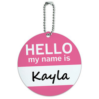 Kayla Hello My Name Is Round ID Card Luggage Tag