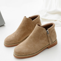 New women's shoes students flat bottom suede wild boots women