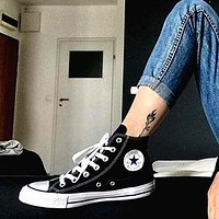 Converse Fashion Canvas Flats Sneakers Sport Shoes High tops Black-1