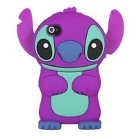 niceEshop(TM) Purple Cute 3D Stitch with Movable Ears Silicone Rubber Soft Case Cover Fit for the iPhone4/4S +Free Screen Protector