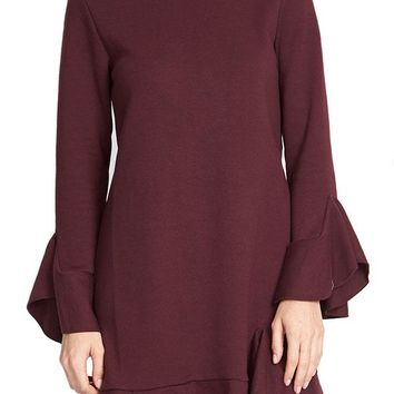 Sugar Lips Crewneck Ruffle Sleeve Peplum Dress