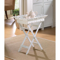 Elegant Aged White Carved Wood Folding Table Tray Stand
