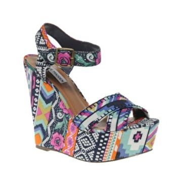 Steve Madden Winonna Multi print Wedges at asos.com