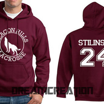 STILINSKI 24 Beacon Hills Lacrosse Wolf 24 Number  Teen Unisex Hoodie - Tumblr Text - Part 3