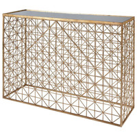 Crosshatch Console Table with Inset Mirror Top | Gold