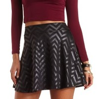 Textured Chevron Skater Skirt by Charlotte Russe - Black